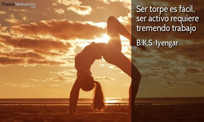 Ser torpe es fácil, ser activo requiere tremendo trabajo. - B.K.S. Iyengar