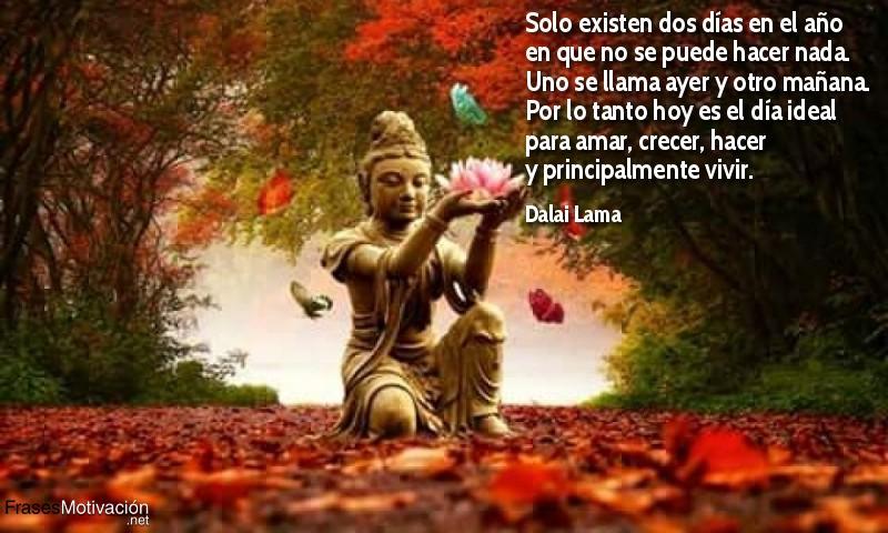 Solo existen dos días en el año en que no se puede hacer nada. Uno se llama ayer y otro mañana. Por lo tanto hoy es el dia ideal para amar, crecer, hacer y principalmente vivir. - Dalai Lama