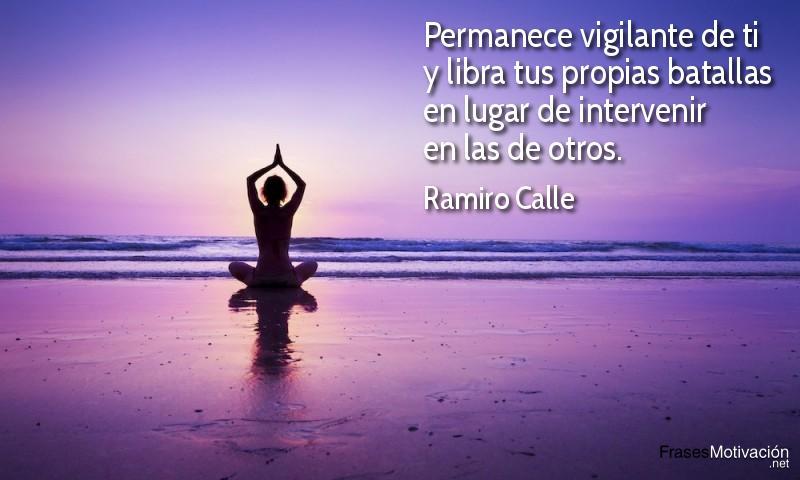 Permanece vigilante de ti y libra tus propias batallas en lugar de intervenir en las de otros. - Ramiro Calle